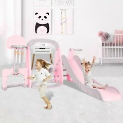 5 In 1 Kids Indoor And Outdoor Slide Swing And Basketball Football Set $156.88
