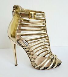 Steve Madden Gold Gladiator Size 5.5 M Zipper Stilletto 4.5quot; Heel Party Shoes $19.99
