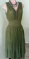 King's Road Women's boho lace Dress Lined Size M Olive Green elastic waist New $24.50