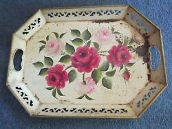"""ANTIQUE TOLE TRAY 18""""x13"""" OPENWORK HANDLE HAND PAINTED FLORAL ROSES $15.00"""