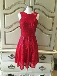 Kate Kasin Stunning Sequined Sleeveless V Neck Cocktail Evening Party Dress $35.00