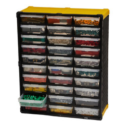 Small Parts Tool Organizer Storage Rack 30 Compartment Plastic Bin Drawer labels $31.58