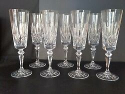 Vintage Crystal Champagne 8 1 2 Inch Tall Flutes Group of 7 Champagne Glasses $99.50