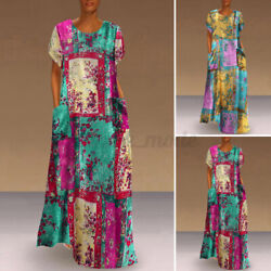 Womens Short Sleeve Printed Beach Evening Dresses Loose Sundress Long Maxi Dress $15.99
