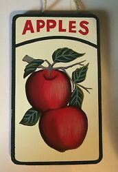 APPLES Wooden Country Kitchen Primitive apple fruit wall Decor Sign 3.5x6quot; $5.99