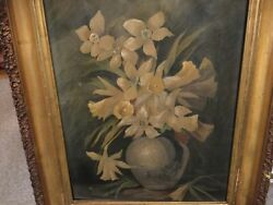 Antique Oil Painting amp; Frame of Yellow DaffodIls Signed quot;C.B. Myers 1912quot; $85.00