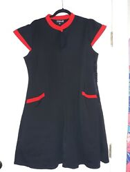 SOURPUSS little black knit dress 3X red pockets keyhole mod retro party plus. $30.00