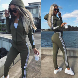 Women Sportswear V neck Zipper Sweatshirt Jogging Pants Yoga Sports Suit $20.82