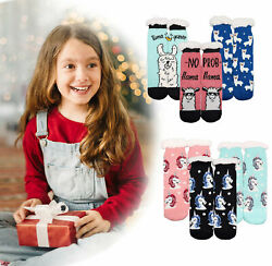 3 Pack of Girl#x27;s Christmas Sherpa Lined Thermal Toddler Warm Kids Socks $16.99