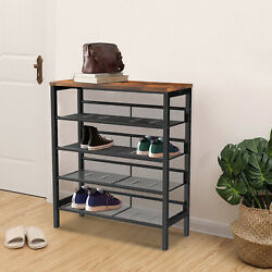 Industrial shoe rack adjustable country style 5 layer shoe rack storage rack $77.53