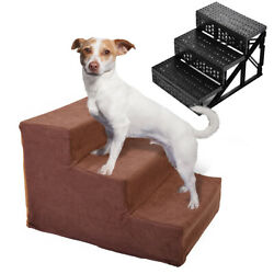 Dog Steps For High Bed 3 Steps Pet Stairs Small Dogs Cats Ramp Ladder Coffee $19.99