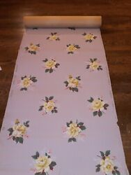 Vintage wallpaper flowers with gray background. May have a few water stain read $60.00