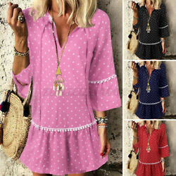 Women Plus Size Polka Dot Mini Dress Long Tops Long Sleeve Party Holiday Dresses $17.47