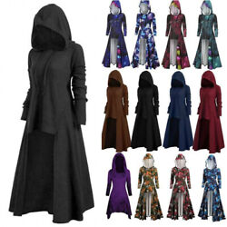 Women Gothic Witch Punk Hooded Dress Cloak Cape Robe Halloween Party Fancy Dress $38.47