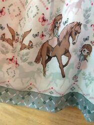 Girls size 7 8 hamp;m floral horse and girl dress white pink green $9.50