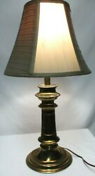 Stiffel Vintage Brass Heavy Accent Bedside Table Desk Lamp w Shade 8 lbs Works $63.99