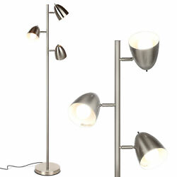 Brightech Jacob Adjustable 3 Light Tree Floor Lamp Pole with LED Lights Nickel $79.99