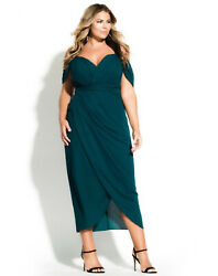 City Chic Entwine Maxi Dress XXL 24 Emerald Off The Shoulder Cocktail Plus NEW $49.99