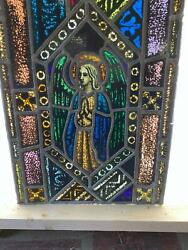 ANTIQUE GERMAN STAINED GLASS CHURCH ANGEL WINDOW FROM A CLOSED CHURCH X6 $1250.00