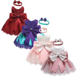 Baby Girl Dress Princess Lace Bow Gown Tutu Birthday Party Girls Kids Clothes $15.98