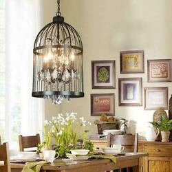 Vintage 4 Lights Wrought Iron Bird Cage Chandelier Crystal Hanging Pendant Lamps $108.55
