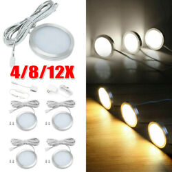 4 8 12X Under Cabinet LED Lighting Kit Hardwired Wall Plug in Puck Lights Wired