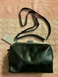 Ally Capellino UK Designer Black Leather Cross Body NICO SOFT FRAME Purse Bag