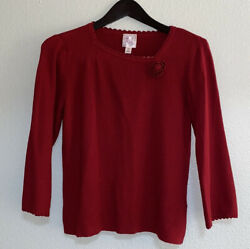Pink Poodle Girls Red Long Sleeve Crew Neck Casual Sweater Medium $19.40