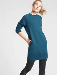 NEW Athleta S Dark Vista Teal Cozy Black Bounce Back Sweatshirt Dress Small 4 6 $89.00