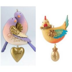 Hallmark Two Turtle Doves amp; Three French Hens 12 Days of Christmas Ornaments NEW $17.20
