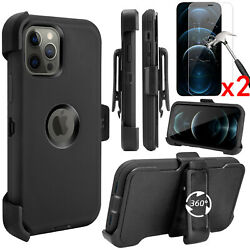 For iPhone 12 11 12 Pro Max Heavy Duty Shockproof Case Belt ClipTempered Glass $7.99