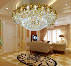 40 60cm Luxury K9 Crystal Chandelier LED 3 Color Lighting Ceiling Light Gold $166.46