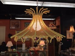 Vintage Faux Bamboo Boho Chandelier With Wicker Rattan $750.00