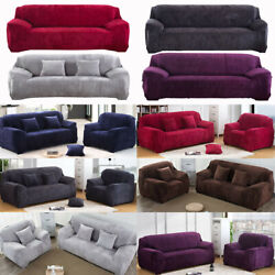 Stretch Plush Thick Sofa Covers 1 2 3 4 Seater Couch Chair Slipcover Protector $33.99