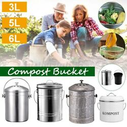 Compost Bucket Bin Garbage Counter Top Waste Garden Kitchen Recycling Composter $28.63