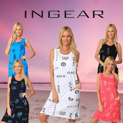 INGEAR Fish Graphic Cotton Casual Beach Dress Summer Many Sizes Fashion Cover Up $17.99