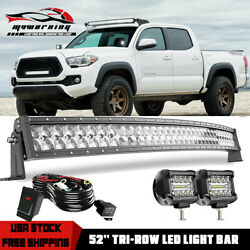 52 Inch Curved LED Light Bar 5D Tri Row Pods Kit for 2005 2020 Toyota Tacoma $98.99