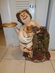 Rare quot;Wine For the Godsquot; Butler Statue Ceasar Holding tray amp; Holds 6 Wine Bottle $250.00