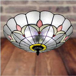 LED Stained Glass Ceiling Embedded Ceiling Lamp Vintage Chandelier Retro Style $89.27