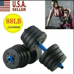 Totall 88LB Weight Dumbbell Set Cap Gym Barbell Plates Body Workout Adjustable. $71.99