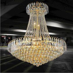 Modern Crown Shaped Chandelier European Luxury Crystal LED Chandelier Gold $245.99