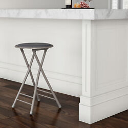 Padded 24 Inch Cushioned Folding Stool Holds 300 Lbs Extra Seating Gray $24.99