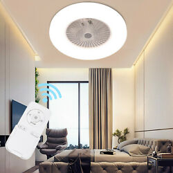 24#x27;#x27; Round Ceiling Fan Light Remote Control Dimmable LED Lamp Living Room Office $84.88