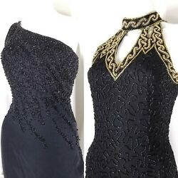 Vintage 90s Black Beaded Cocktail Dresses Sequin Semi Formal Maxi Gown 2 Small $49.99