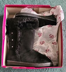 SO Lori Black Girls Youth Memory Foam Boots With Zipper Size: 2 Med $22.99