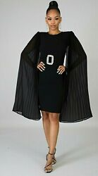 Women#x27;s Elegant Cocktail Party Holiday Little Black Evening Dress Size: SML