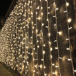 300LED 10ft Curtain Fairy Hanging String Lights LED Home Wedding Party 8 Modes