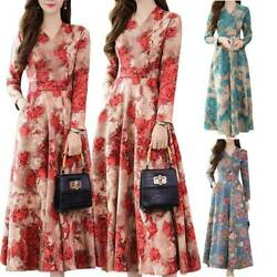 Womens Long Sleeve Floral Maxi Dress Holiday Party Maxi Swing Dresses Wedding $14.43