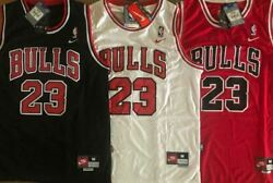 NWT #23 Michael Jordan Men#x27;s Youth Chicago Bulls Stitched Red Black White Jersey $32.99