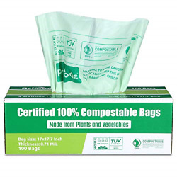 Primode 100% Compostable Bags 3 Gallon Food Scraps Yard Waste Bags 100 Count $19.81